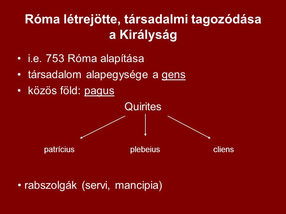"""•ősi római állam (populus Romanus) •3 szerv •rex – hadvezér, pap, legfőbb bíró, végrehajtó hatalom birtokosa •senatus- patrícius nemzetségfők 100 fős gyülekezete, """"öregek tanácsa , tanácsadó szerv •comitia- ősi népgyűlés= comitia curiata, 30 curia a forum Romanumon gyűlt össze, patríciusok majd plebeiusok is megjelenhettek"""