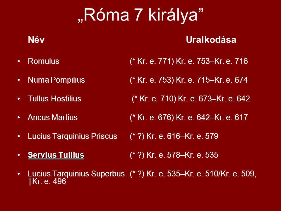 """""""Róma 7 királya"""" NévUralkodása •Romulus (* Kr. e. 771) Kr. e. 753–Kr. e. 716 •Numa Pompilius(* Kr. e. 753) Kr. e. 715–Kr. e. 674 •Tullus Hostilius (*"""