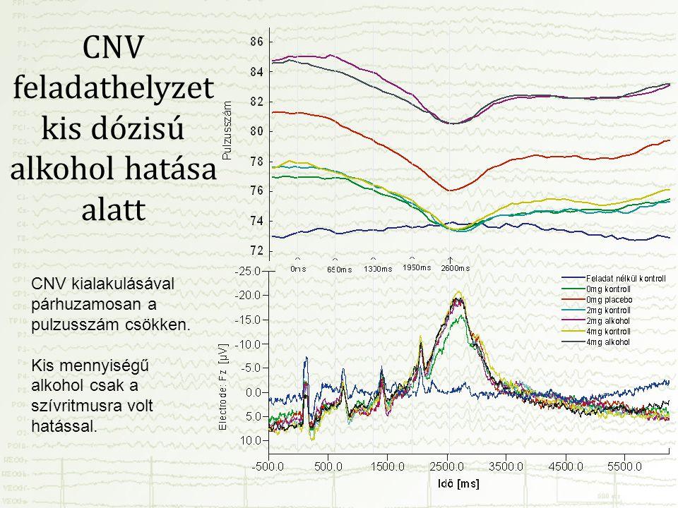 CNV feladathelyzet kis dózisú alkohol hatása alatt CNV kialakulásával párhuzamosan a pulzusszám csökken. Kis mennyiségű alkohol csak a szívritmusra vo