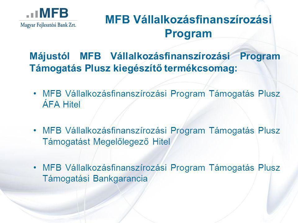 Májustól MFB Vállalkozásfinanszírozási Program Támogatás Plusz kiegészítő termékcsomag: •MFB Vállalkozásfinanszírozási Program Támogatás Plusz ÁFA Hitel •MFB Vállalkozásfinanszírozási Program Támogatás Plusz Támogatást Megelőlegező Hitel •MFB Vállalkozásfinanszírozási Program Támogatás Plusz Támogatási Bankgarancia MFB Vállalkozásfinanszírozási Program