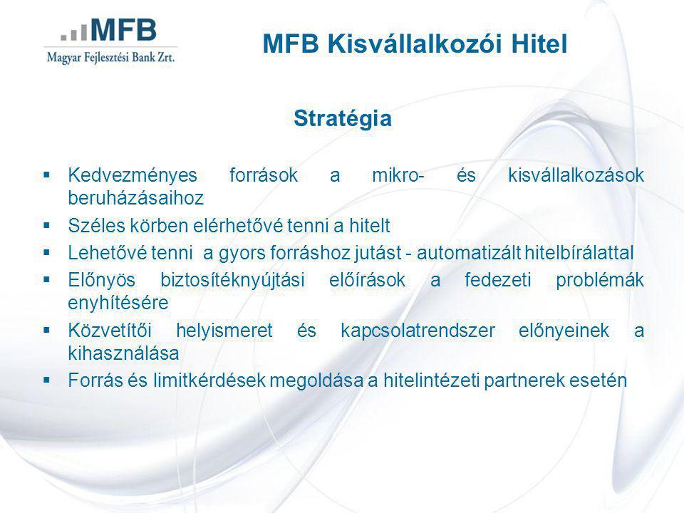 Stratégia  Kedvezményes források a mikro- és kisvállalkozások beruházásaihoz  Széles körben elérhetővé tenni a hitelt  Lehetővé tenni a gyors forráshoz jutást - automatizált hitelbírálattal  Előnyös biztosítéknyújtási előírások a fedezeti problémák enyhítésére  Közvetítői helyismeret és kapcsolatrendszer előnyeinek a kihasználása  Forrás és limitkérdések megoldása a hitelintézeti partnerek esetén