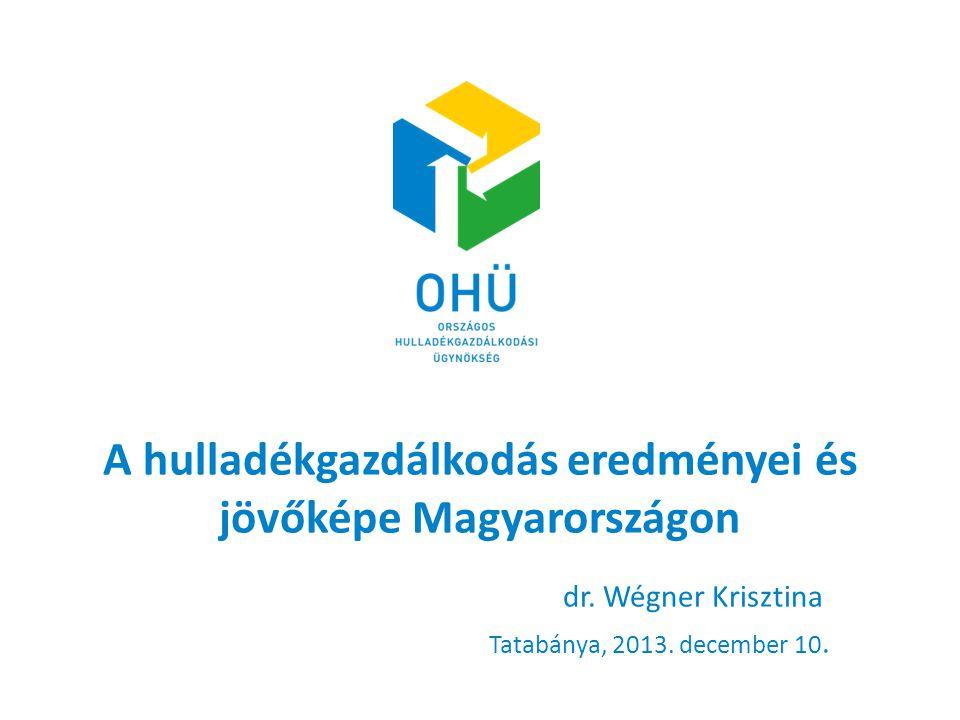 A hulladékgazdálkodás eredményei és jövőképe Magyarországon dr. Wégner Krisztina Tatabánya, 2013. december 10.