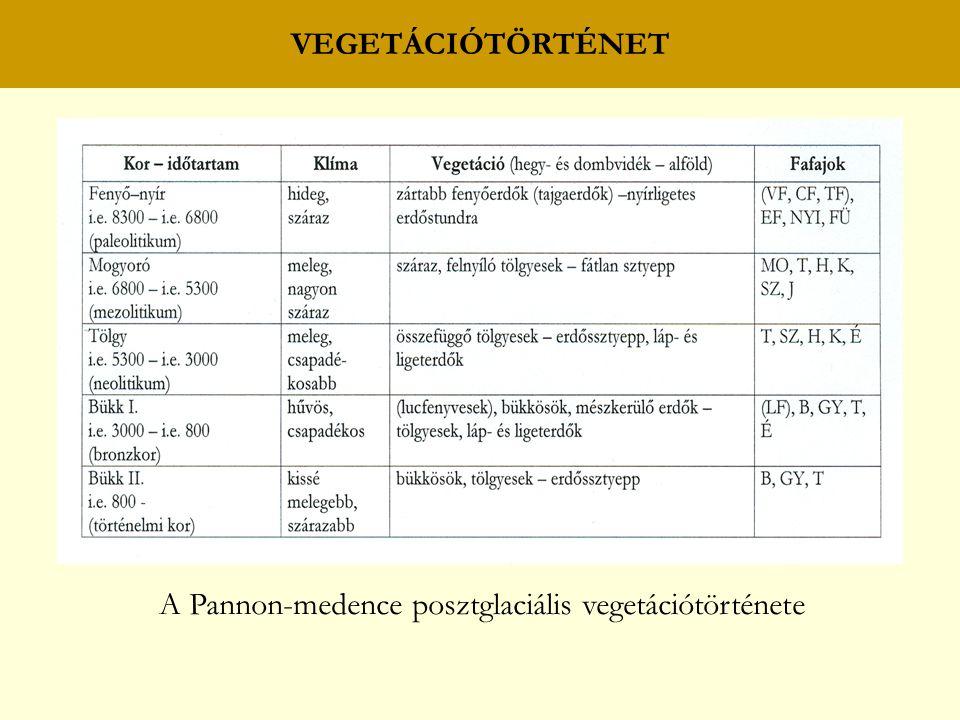 VEGETÁCIÓTÖRTÉNET A Pannon-medence posztglaciális vegetációtörténete