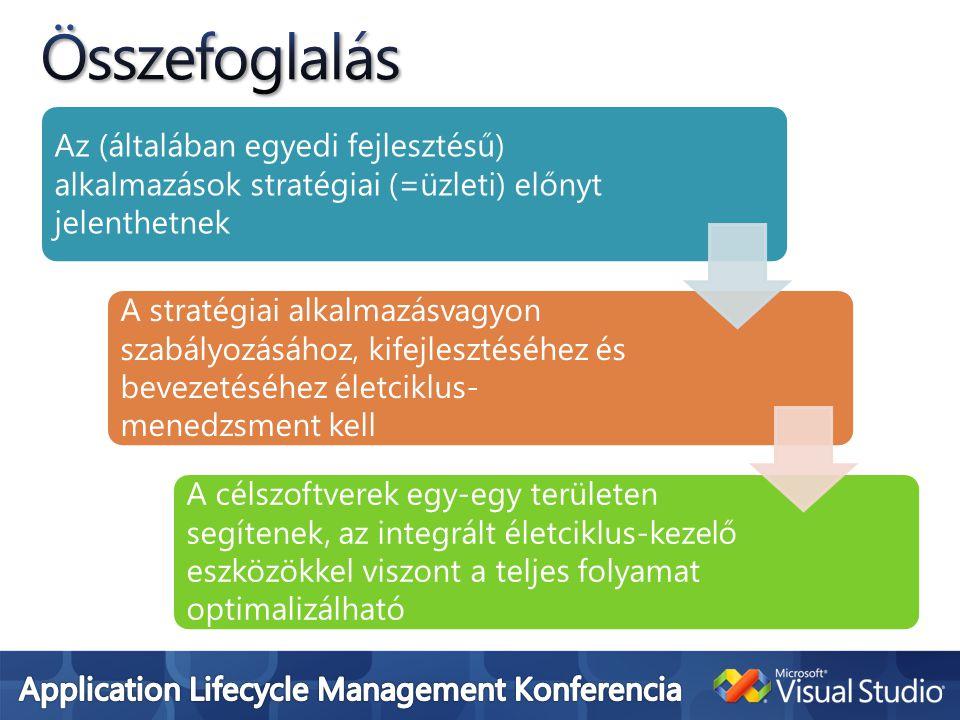 Az (általában egyedi fejlesztésű) alkalmazások stratégiai (=üzleti) előnyt jelenthetnek A stratégiai alkalmazásvagyon szabályozásához, kifejlesztéséhez és bevezetéséhez életciklus- menedzsment kell A célszoftverek egy-egy területen segítenek, az integrált életciklus-kezelő eszközökkel viszont a teljes folyamat optimalizálható