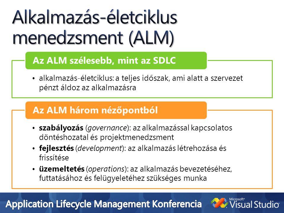 •alkalmazás-életciklus: a teljes időszak, ami alatt a szervezet pénzt áldoz az alkalmazásra Az ALM szélesebb, mint az SDLC •szabályozás (governance): az alkalmazással kapcsolatos döntéshozatal és projektmenedzsment •fejlesztés (development): az alkalmazás létrehozása és frissítése •üzemeltetés (operations): az alkalmazás bevezetéséhez, futtatásához és felügyeletéhez szükséges munka Az ALM három nézőpontból