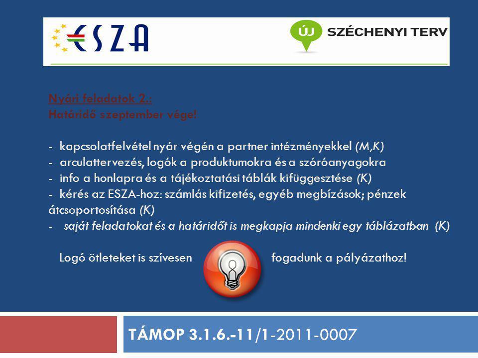 Nyári feladatok 2.: Határidő szeptember vége! - kapcsolatfelvétel nyár végén a partner intézményekkel (M,K) - arculattervezés, logók a produktumokra é
