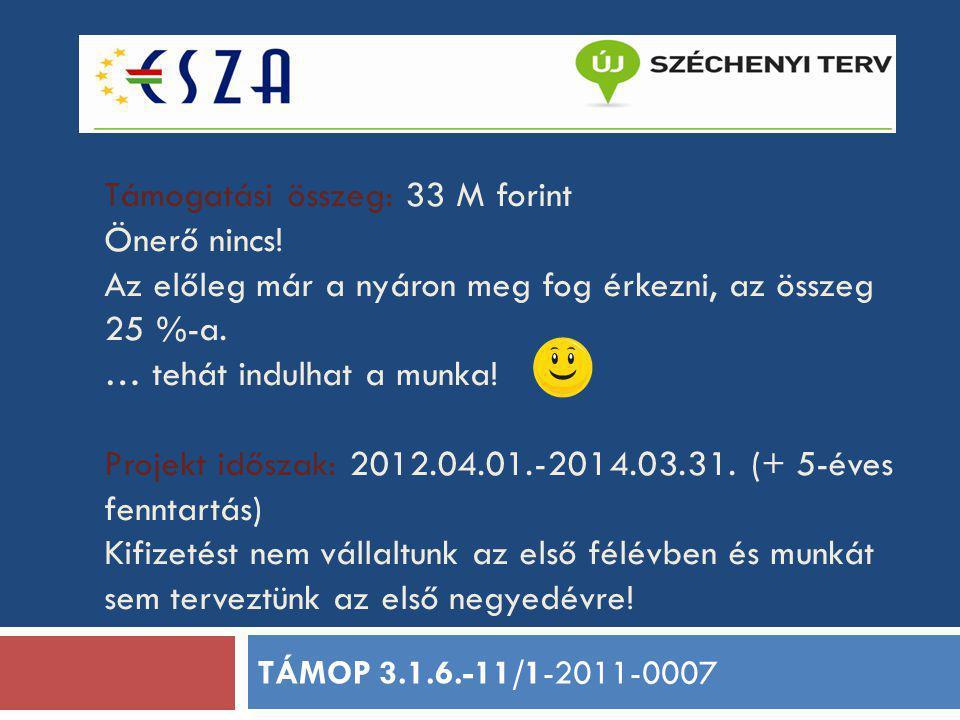 Támogatási összeg: 33 M forint Önerő nincs! Az előleg már a nyáron meg fog érkezni, az összeg 25 %-a. … tehát indulhat a munka! Projekt időszak: 2012.