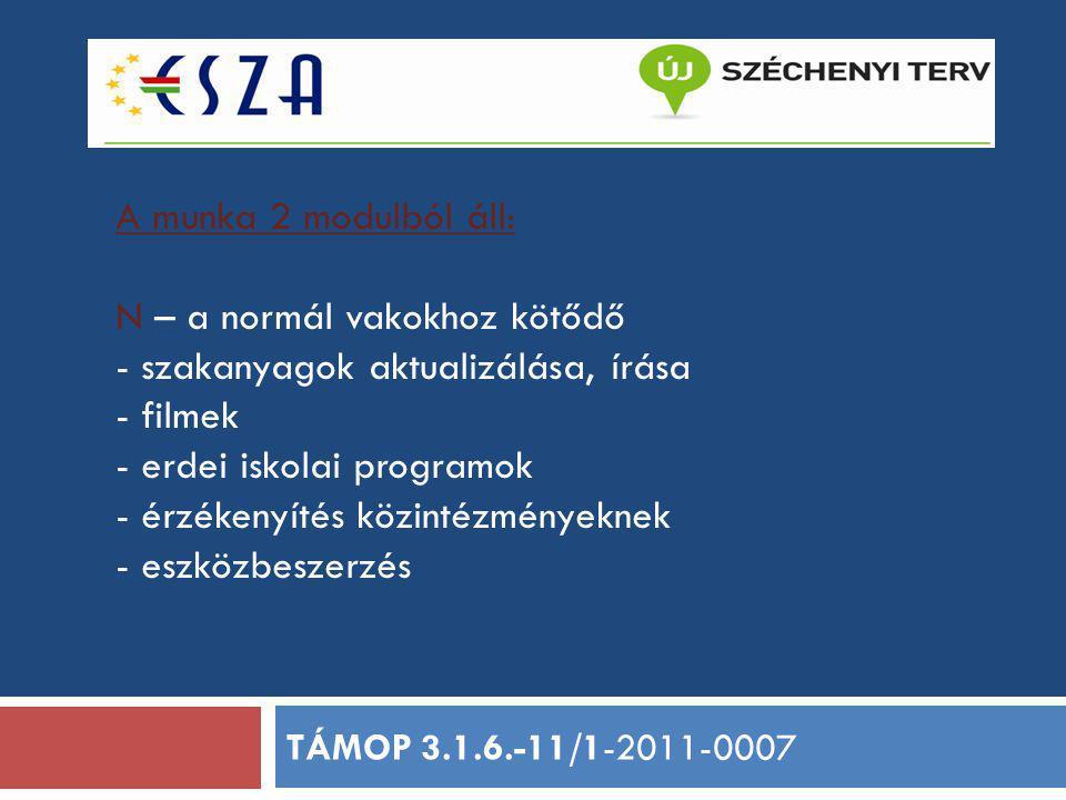 H - a halmozottan sérültekhez kapcsolódó - szakanyag aktualizálása, írása - filmek - 4 intézmény felkészítése a régiós munkára - eszközbeszerzés - eszközkölcsönző kialakítása és működtetése TÁMOP 3.1.6.-11/1-2011-0007
