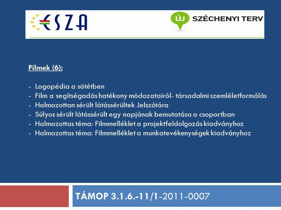 Filmek (6): - Logopédia a sötétben - Film a segítségadás hatékony módozatairól- társadalmi szemléletformálás - Halmozottan sérült látássérültek Jelszó