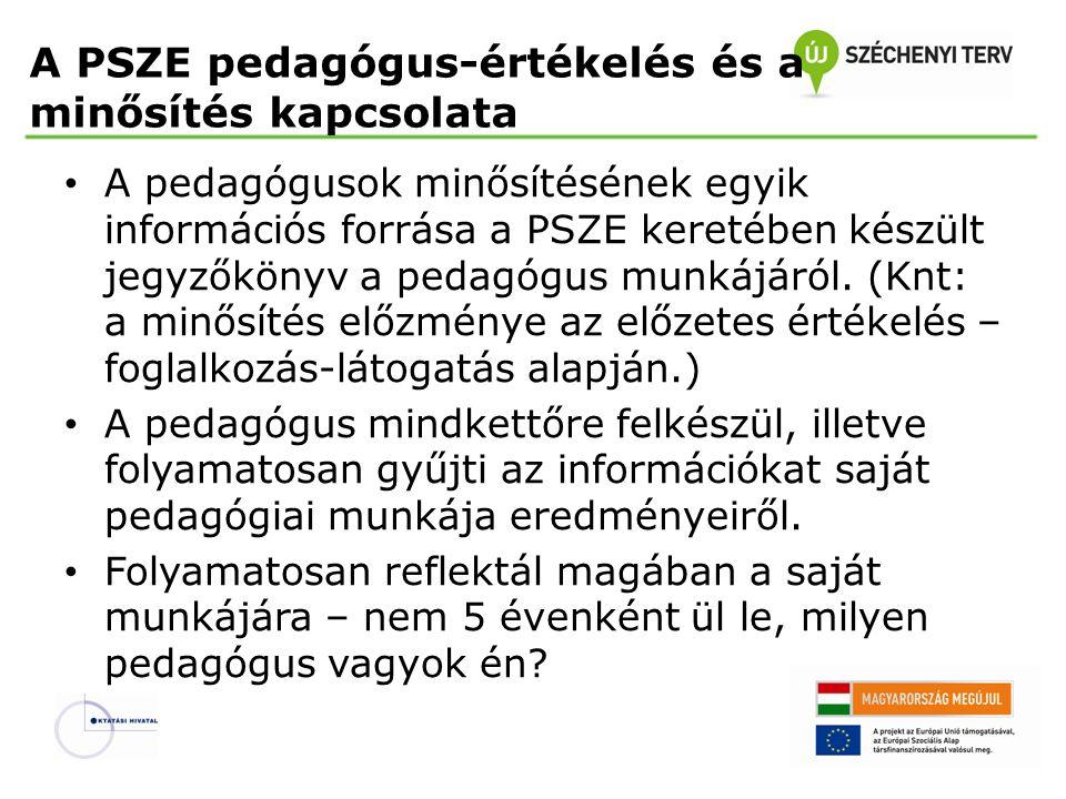 A PSZE pedagógus-értékelés és a minősítés kapcsolata • A pedagógusok minősítésének egyik információs forrása a PSZE keretében készült jegyzőkönyv a pedagógus munkájáról.