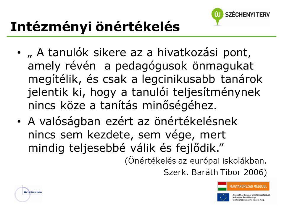 A minőségfejlesztés alapja az EU szerint Az Európai Parlament és az Európai Unió Tanácsa 2001 februárjában elkészült a tagországoknak tett ajánlásából Európai együttműködés az iskolai oktatás minőségének értékelésében (2001/166/ EC) annak egyik fontos pontját választotta: • A külső értékelés fejlesztése annak érdekében, hogy az módszertani segítséget nyújtson az iskolai önértékelés számára és olyan külső képet nyújtson az iskolának, amely bátorítja a folyamatos fejlesztést, biztosítva azt, hogy ez ne szorítkozzék egyszerűen csak adminisztratív ellenőrzésre.