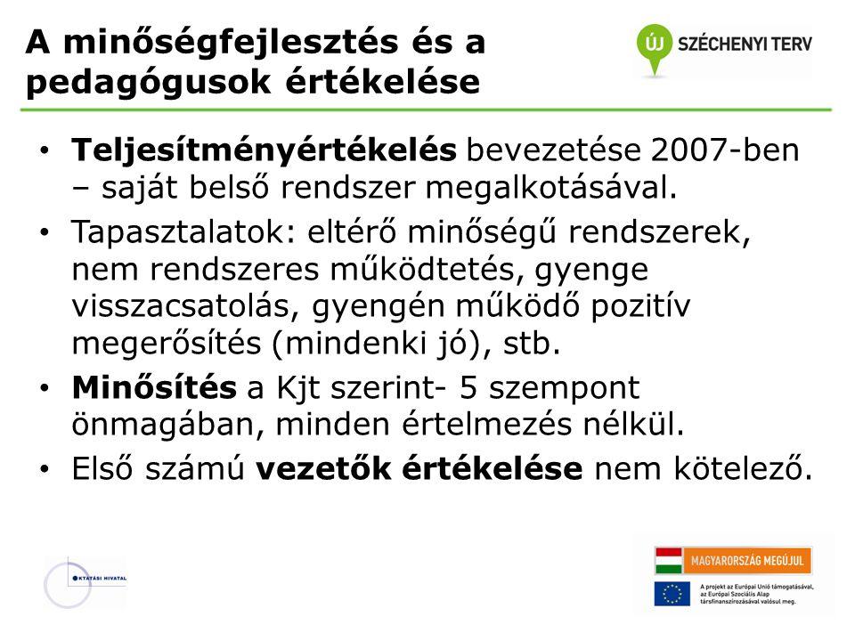 A minőségfejlesztés és a pedagógusok értékelése • Teljesítményértékelés bevezetése 2007-ben – saját belső rendszer megalkotásával.