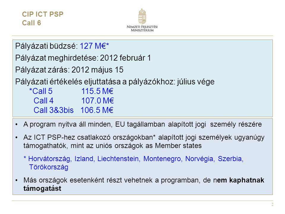 2 CIP ICT PSP Call 6 Pályázati büdzsé: 127 M€* Pályázat meghirdetése: 2012 február 1 Pályázat zárás: 2012 május 15 Pályázati értékelés eljuttatása a pályázókhoz: július vége *Call 5 115.5 M€ Call 4 107.0 M€ Call 3&3bis 106.5 M€ •A program nyitva áll minden, EU tagállamban alapított jogi személy részére •Az ICT PSP-hez csatlakozó országokban* alapított jogi személyek ugyanúgy támogathatók, mint az uniós országok as Member states * Horvátország, Izland, Liechtenstein, Montenegro, Norvégia, Szerbia, Törökország •Más országok esetenként részt vehetnek a programban, de nem kaphatnak támogatást