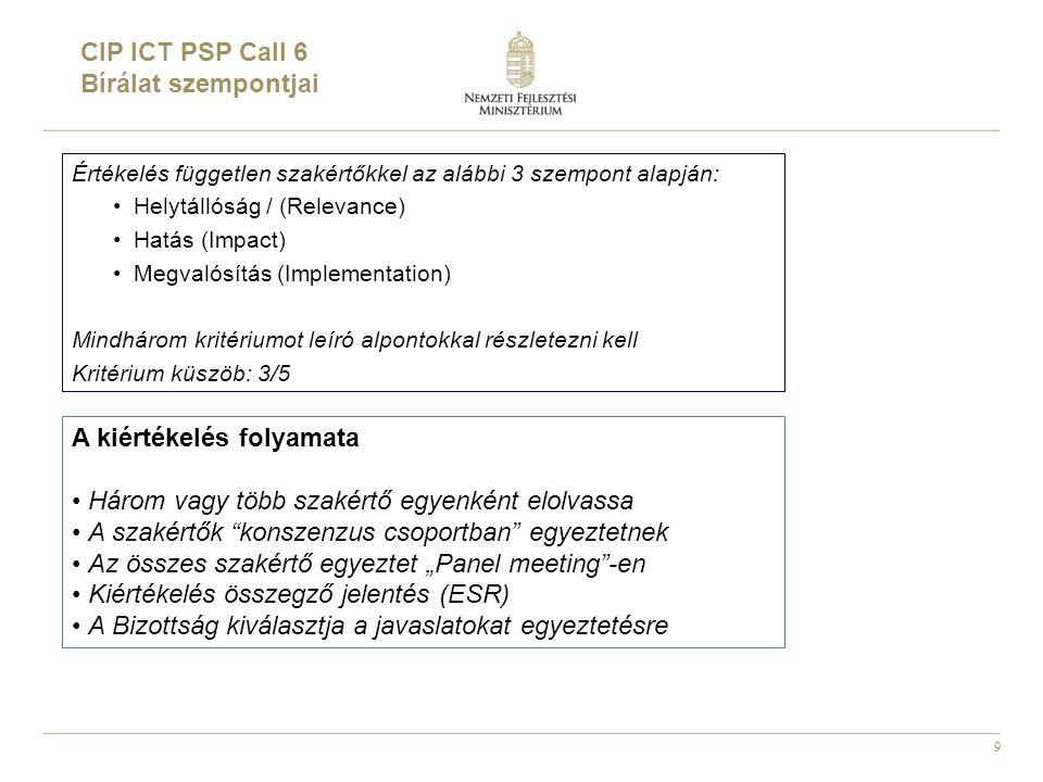 """9 Értékelés független szakértőkkel az alábbi 3 szempont alapján: •Helytállóság / (Relevance) •Hatás (Impact) •Megvalósítás (Implementation) Mindhárom kritériumot leíró alpontokkal részletezni kell Kritérium küszöb: 3/5 CIP ICT PSP Call 6 Bírálat szempontjai A kiértékelés folyamata • Három vagy több szakértő egyenként elolvassa • A szakértők konszenzus csoportban egyeztetnek • Az összes szakértő egyeztet """"Panel meeting -en • Kiértékelés összegző jelentés (ESR) • A Bizottság kiválasztja a javaslatokat egyeztetésre"""