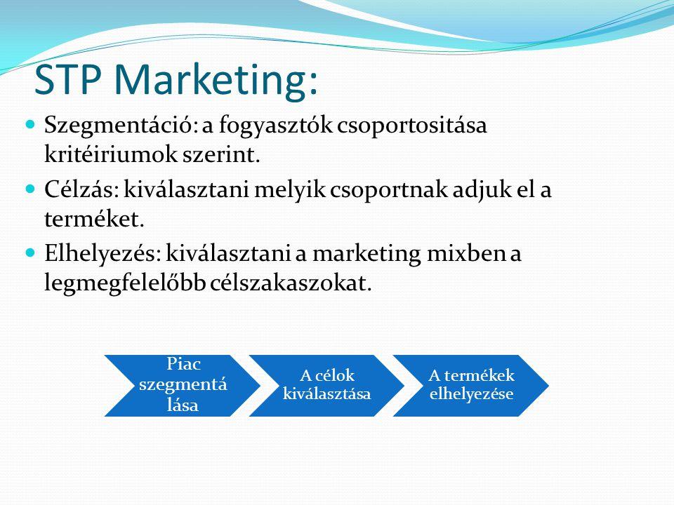 STP Marketing:  Szegmentáció: a fogyasztók csoportositása kritéiriumok szerint.  Célzás: kiválasztani melyik csoportnak adjuk el a terméket.  Elhel
