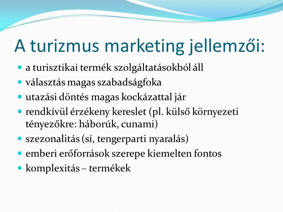 A turizmus marketing jellemzői:  a turisztikai termék szolgáltatásokból áll  választás magas szabadságfoka  utazási döntés magas kockázattal jár 