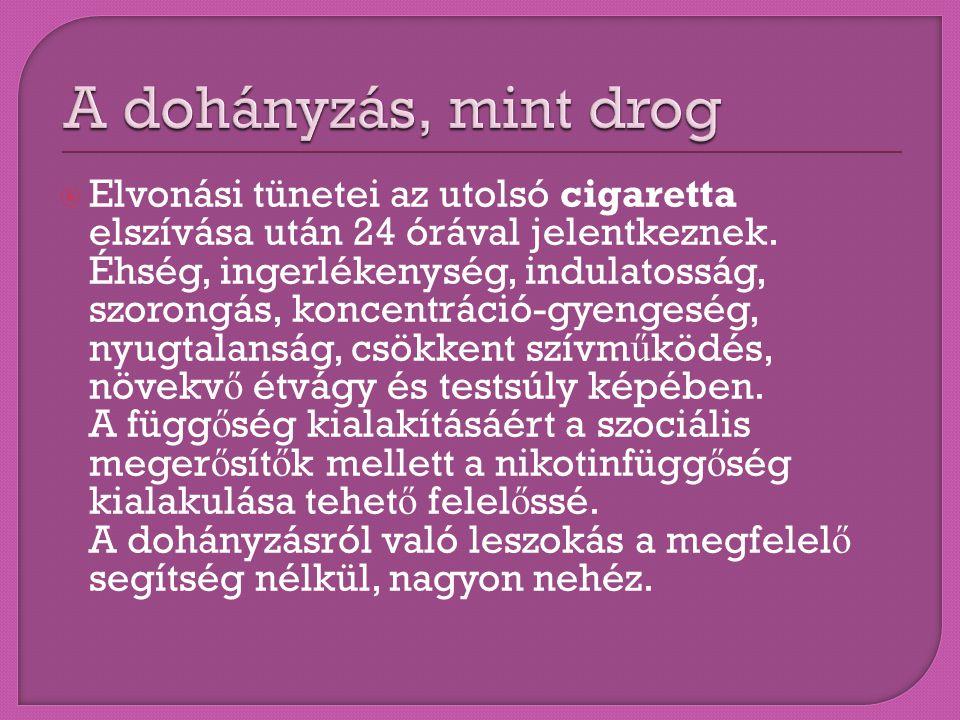  Elvonási tünetei az utolsó cigaretta elszívása után 24 órával jelentkeznek. Éhség, ingerlékenység, indulatosság, szorongás, koncentráció-gyengeség,