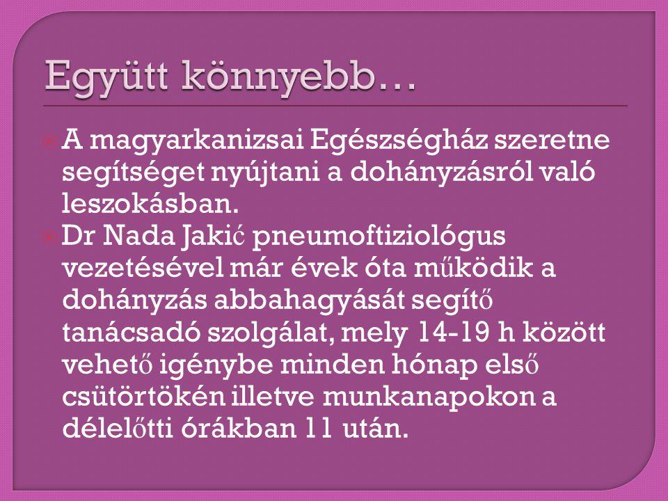  A magyarkanizsai Egészségház szeretne segítséget nyújtani a dohányzásról való leszokásban.  Dr Nada Jaki ć pneumoftiziológus vezetésével már évek ó