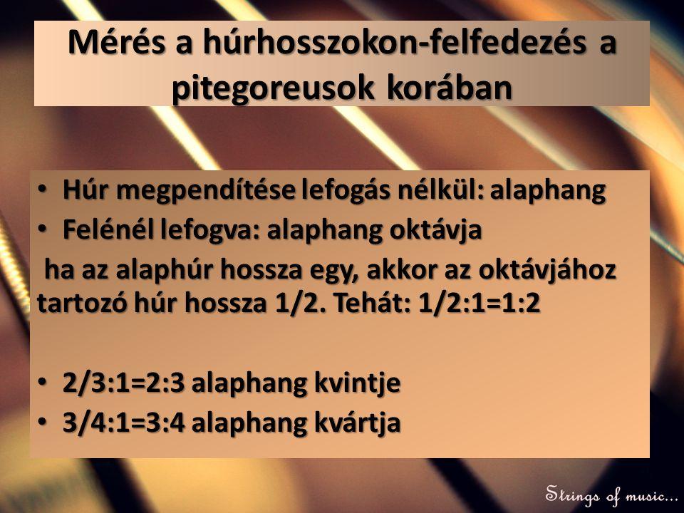 Mérés a húrhosszokon-felfedezés a pitegoreusok korában • Húr megpendítése lefogás nélkül: alaphang • Felénél lefogva: alaphang oktávja ha az alaphúr h