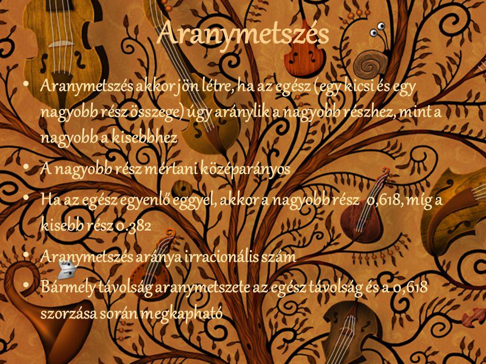 Aranymetszés • Aranymetszés akkor jön létre, ha az egész (egy kicsi és egy nagyobb rész összege) úgy aránylik a nagyobb részhez, mint a nagyobb a kise