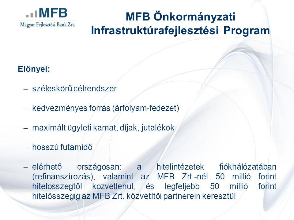 Előnyei: – széleskörű célrendszer – kedvezményes forrás (árfolyam-fedezet) – maximált ügyleti kamat, díjak, jutalékok – hosszú futamidő – elérhető országosan: a hitelintézetek fiókhálózatában (refinanszírozás), valamint az MFB Zrt.-nél 50 millió forint hitelösszegtől közvetlenül, és legfeljebb 50 millió forint hitelösszegig az MFB Zrt.