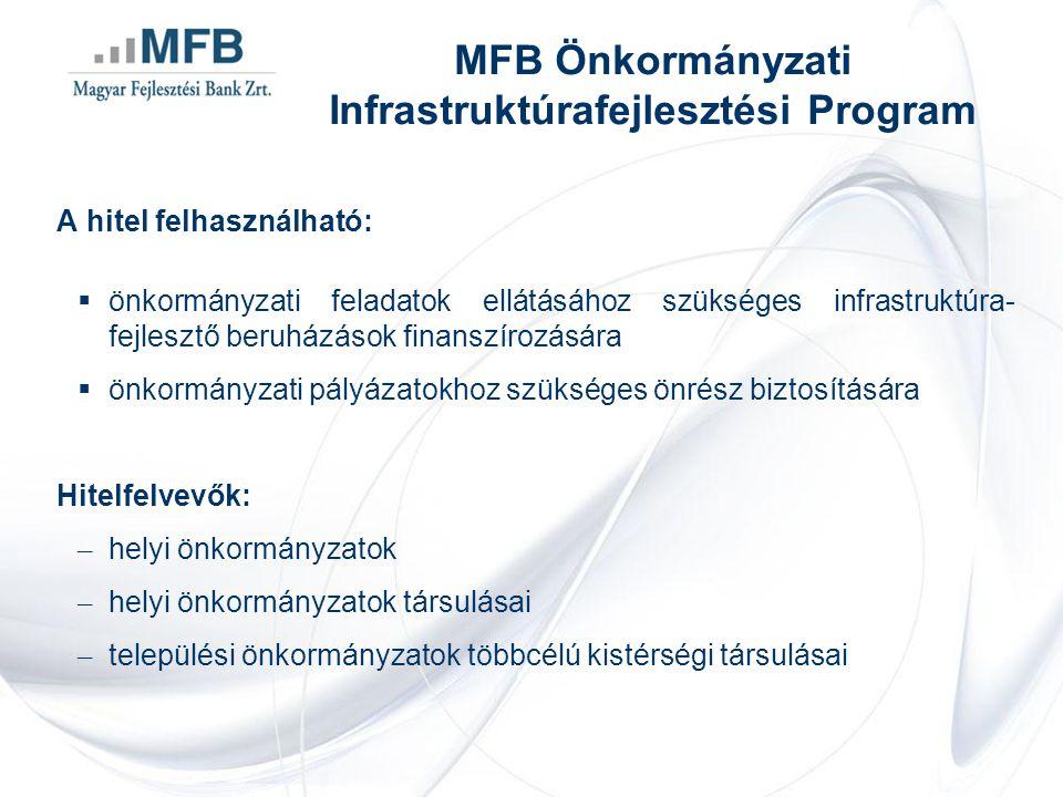 A hitel felhasználható:  önkormányzati feladatok ellátásához szükséges infrastruktúra- fejlesztő beruházások finanszírozására  önkormányzati pályáza