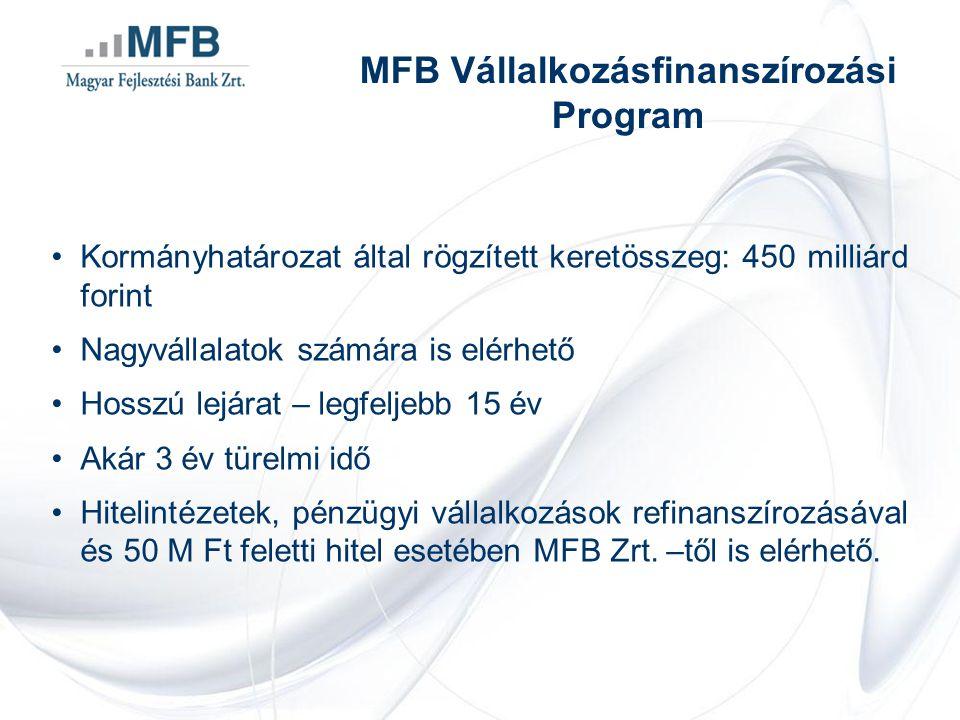 •Kormányhatározat által rögzített keretösszeg: 450 milliárd forint •Nagyvállalatok számára is elérhető •Hosszú lejárat – legfeljebb 15 év •Akár 3 év türelmi idő •Hitelintézetek, pénzügyi vállalkozások refinanszírozásával és 50 M Ft feletti hitel esetében MFB Zrt.