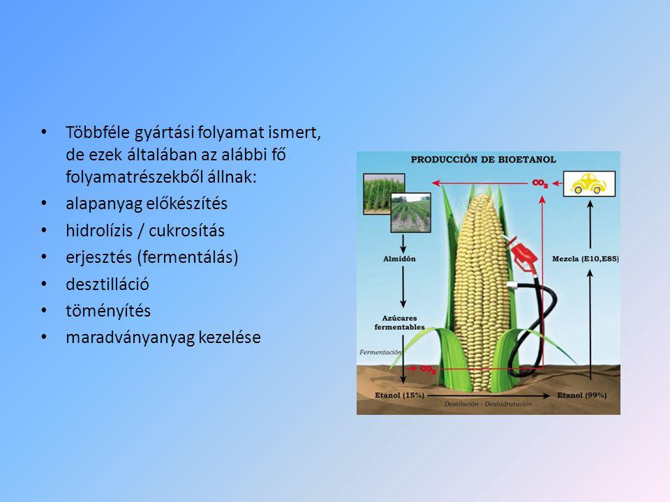 • Többféle gyártási folyamat ismert, de ezek általában az alábbi fő folyamatrészekből állnak: • alapanyag előkészítés • hidrolízis / cukrosítás • erje