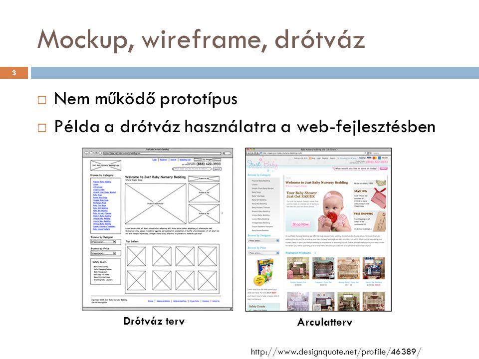 Mockup, wireframe, drótváz  Nem működő prototípus  Példa a drótváz használatra a web-fejlesztésben http://www.designquote.net/profile/46389/ Drótváz