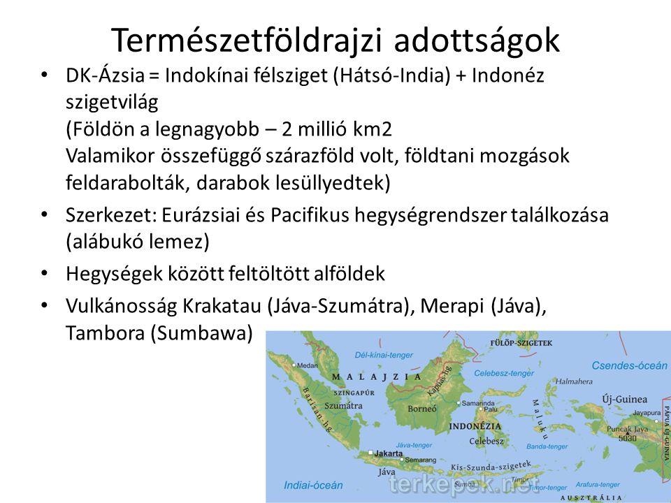 Természetföldrajzi adottságok • DK-Ázsia = Indokínai félsziget (Hátsó-India) + Indonéz szigetvilág (Földön a legnagyobb – 2 millió km2 Valamikor összefüggő szárazföld volt, földtani mozgások feldarabolták, darabok lesüllyedtek) • Szerkezet: Eurázsiai és Pacifikus hegységrendszer találkozása (alábukó lemez) • Hegységek között feltöltött alföldek • Vulkánosság Krakatau (Jáva-Szumátra), Merapi (Jáva), Tambora (Sumbawa)