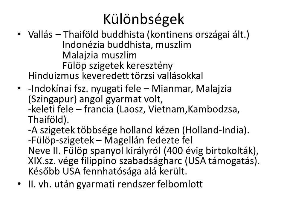 Különbségek • Vallás – Thaiföld buddhista (kontinens országai ált.) Indonézia buddhista, muszlim Malajzia muszlim Fülöp szigetek keresztény Hinduizmus keveredett törzsi vallásokkal • -Indokínai fsz.