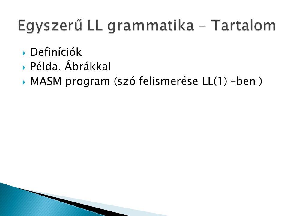 Definíciók  Példa. Ábrákkal  MASM program (szó felismerése LL(1) –ben )