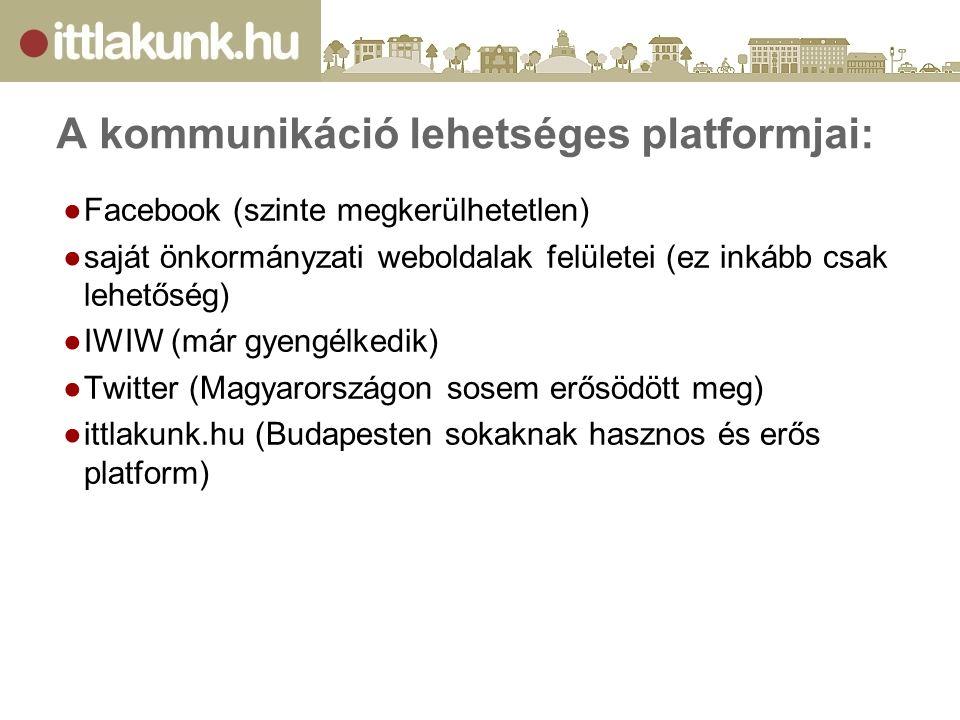 A kommunikáció lehetséges platformjai: ●Facebook (szinte megkerülhetetlen) ●saját önkormányzati weboldalak felületei (ez inkább csak lehetőség) ●IWIW (már gyengélkedik) ●Twitter (Magyarországon sosem erősödött meg) ●ittlakunk.hu (Budapesten sokaknak hasznos és erős platform)