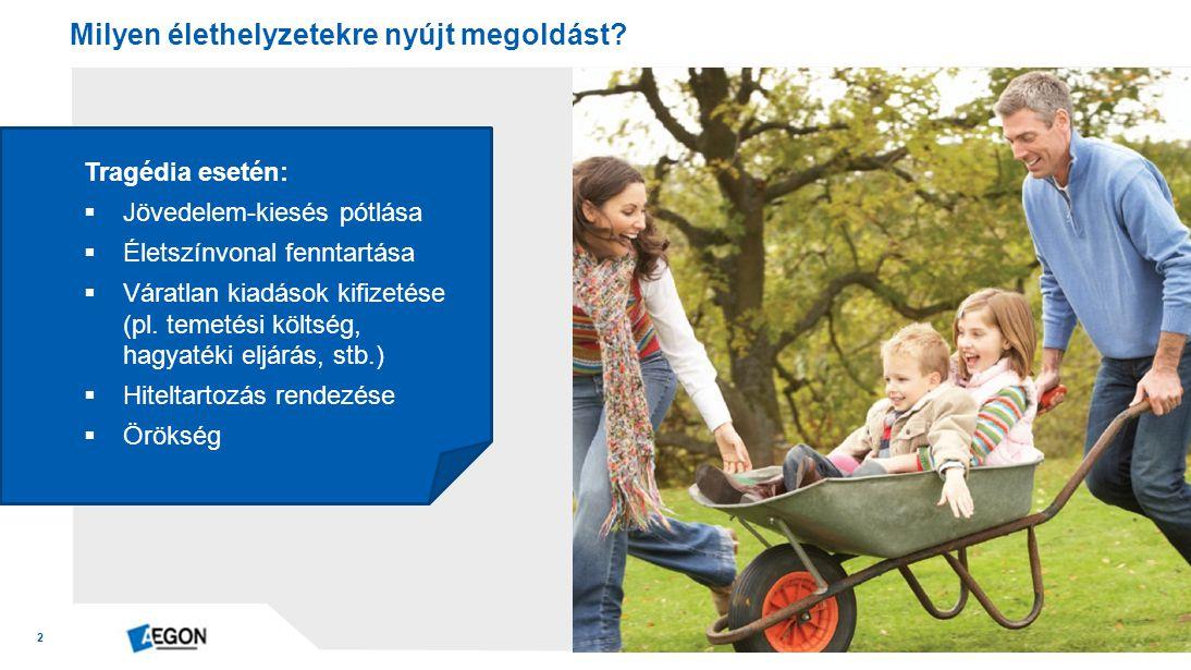 2 Tragédia esetén:  Jövedelem-kiesés pótlása  Életszínvonal fenntartása  Váratlan kiadások kifizetése (pl.