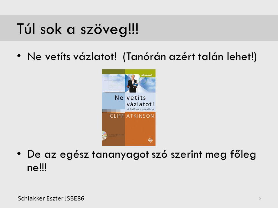 Túl sok a szöveg!!! • Ne vetíts vázlatot! (Tanórán azért talán lehet!) • De az egész tananyagot szó szerint meg főleg ne!!! Schlakker Eszter JSBE86 3