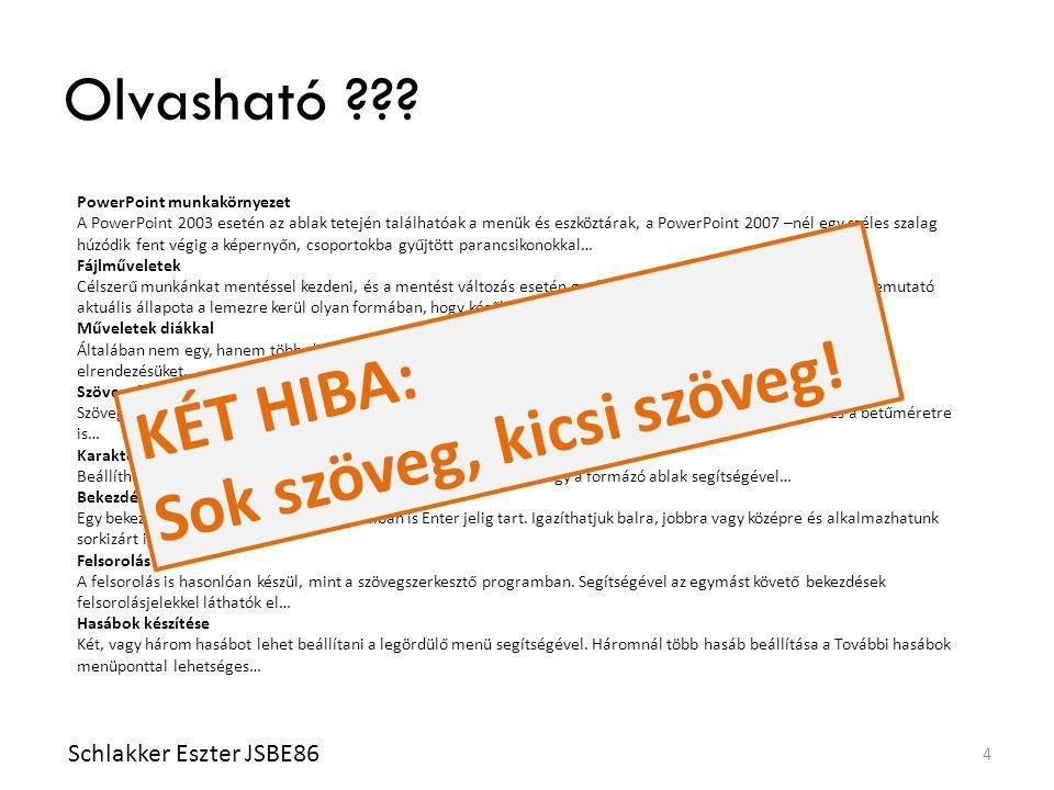 Olvasható ??? Schlakker Eszter JSBE86 4 PowerPoint munkakörnyezet A PowerPoint 2003 esetén az ablak tetején találhatóak a menük és eszköztárak, a Powe