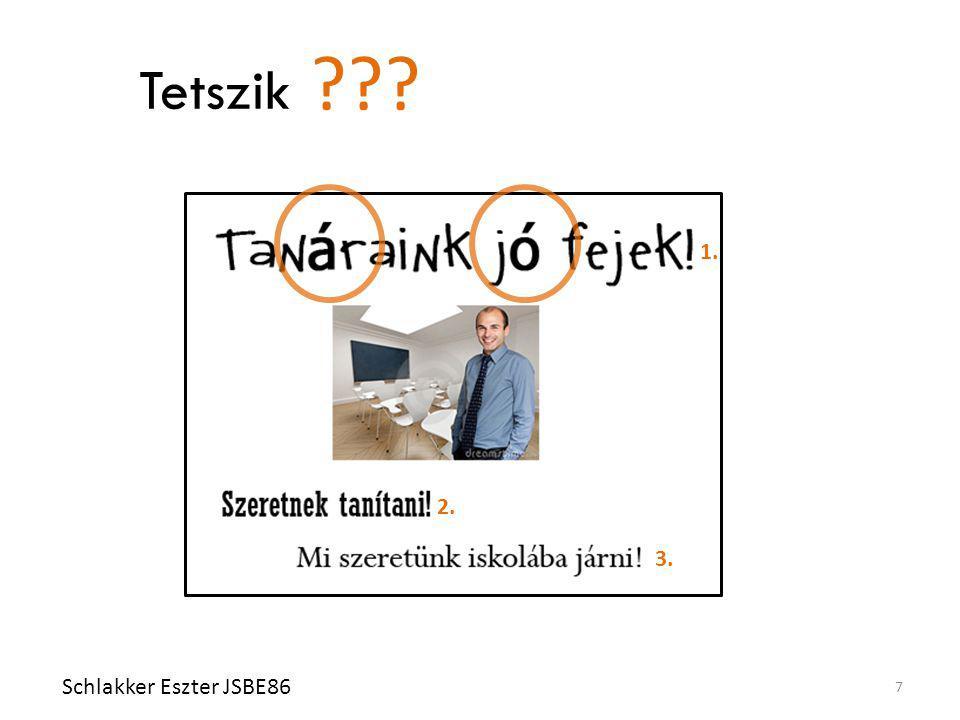 Tetszik Schlakker Eszter JSBE86 7 Nem magyar betűtípust ne használjunk! Húsz féle betűtípust ne használjunk! (Max. kettőt!) ??? 1. 3. 2.
