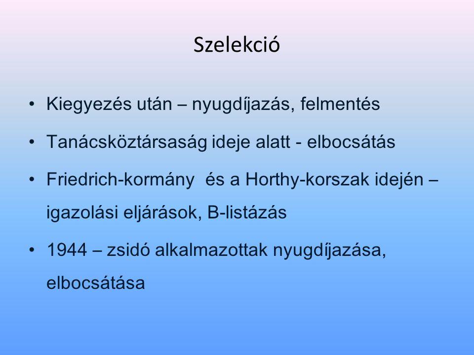 Szelekció • Kiegyezés után – nyugdíjazás, felmentés • Tanácsköztársaság ideje alatt - elbocsátás • Friedrich-kormány és a Horthy-korszak idején – igazolási eljárások, B-listázás • 1944 – zsidó alkalmazottak nyugdíjazása, elbocsátása