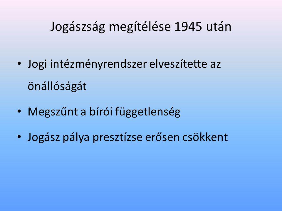 Jogászság megítélése 1945 után • Jogi intézményrendszer elveszítette az önállóságát • Megszűnt a bírói függetlenség • Jogász pálya presztízse erősen csökkent