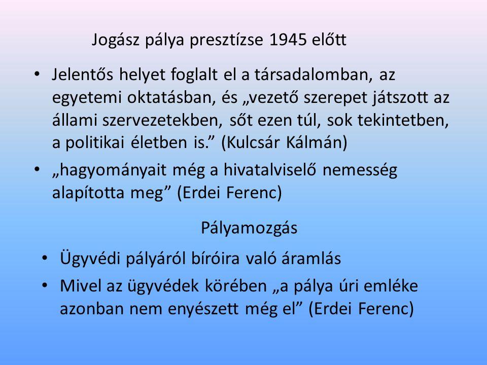 """Jogász pálya presztízse 1945 előtt • Jelentős helyet foglalt el a társadalomban, az egyetemi oktatásban, és """"vezető szerepet játszott az állami szervezetekben, sőt ezen túl, sok tekintetben, a politikai életben is. (Kulcsár Kálmán) • """"hagyományait még a hivatalviselő nemesség alapította meg (Erdei Ferenc) Pályamozgás • Ügyvédi pályáról bíróira való áramlás • Mivel az ügyvédek körében """"a pálya úri emléke azonban nem enyészett még el (Erdei Ferenc)"""