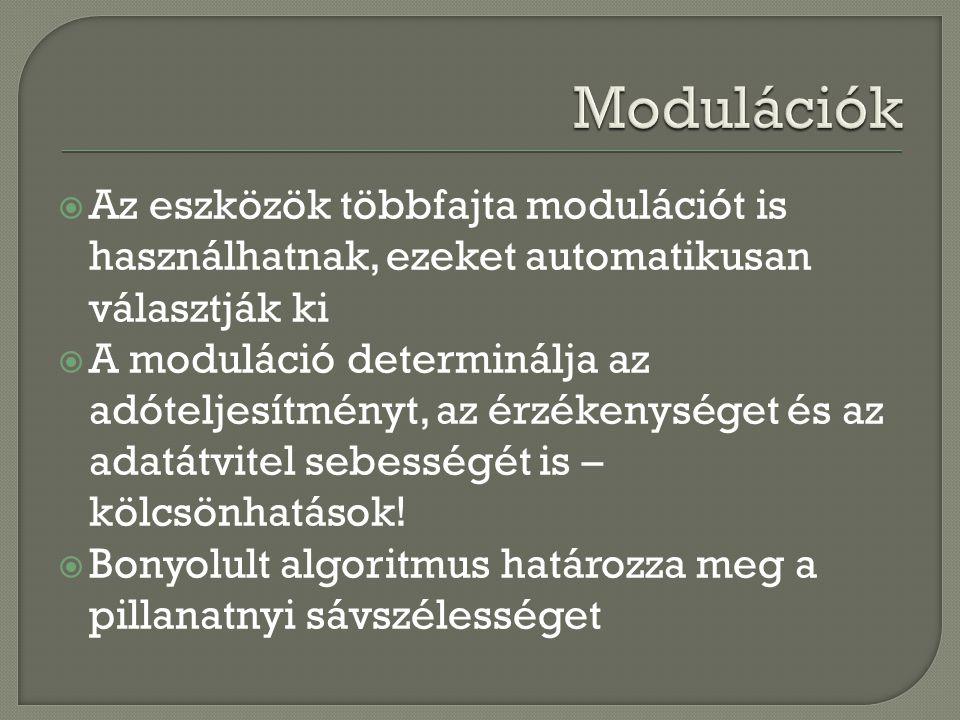  Az eszközök többfajta modulációt is használhatnak, ezeket automatikusan választják ki  A moduláció determinálja az adóteljesítményt, az érzékenység