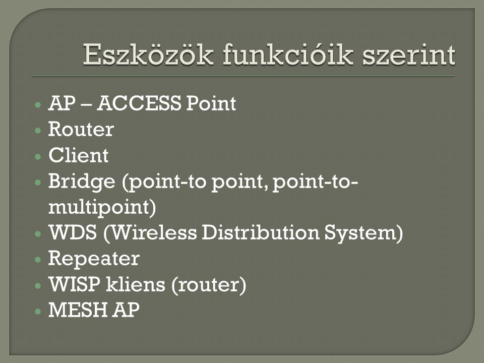  AP – ACCESS Point  Router  Client  Bridge (point-to point, point-to- multipoint)  WDS (Wireless Distribution System)  Repeater  WISP kliens (router)  MESH AP