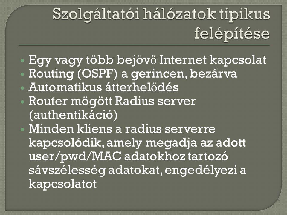  Egy vagy több bejöv ő Internet kapcsolat  Routing (OSPF) a gerincen, bezárva  Automatikus átterhel ő dés  Router mögött Radius server (authentiká
