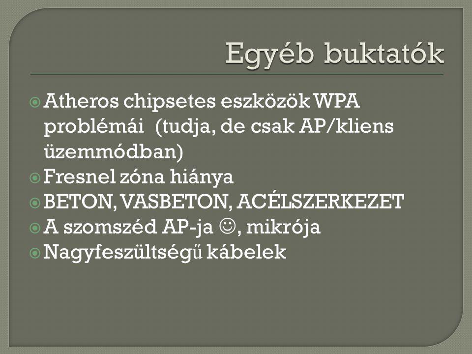 Atheros chipsetes eszközök WPA problémái (tudja, de csak AP/kliens üzemmódban)  Fresnel zóna hiánya  BETON, VASBETON, ACÉLSZERKEZET  A szomszéd A