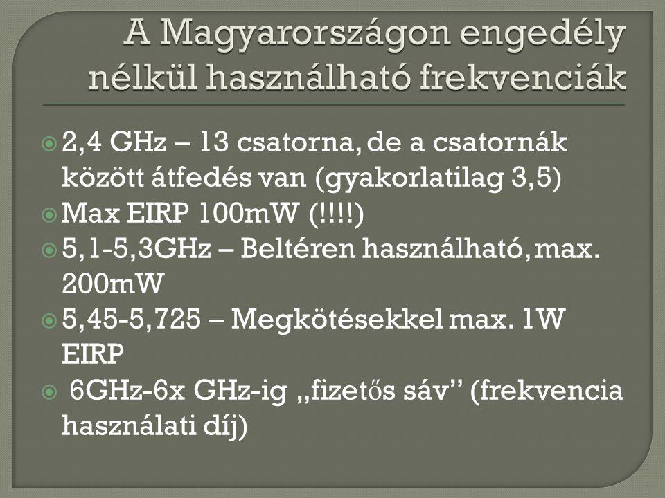  2,4 GHz – 13 csatorna, de a csatornák között átfedés van (gyakorlatilag 3,5)  Max EIRP 100mW (!!!!)  5,1-5,3GHz – Beltéren használható, max. 200mW
