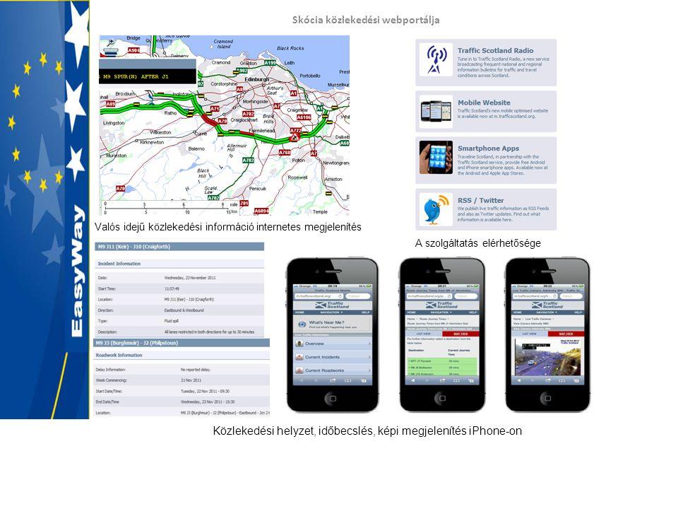 Skócia közlekedési webportálja Valós idejű közlekedési információ internetes megjelenítés A szolgáltatás elérhetősége Közlekedési helyzet, időbecslés, képi megjelenítés iPhone-on