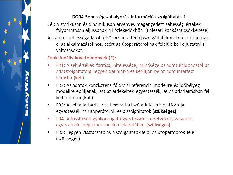 DG04 Sebességszabályozás információs szolgáltatásai Cél: A statikusan és dinamikusan érvényes megengedett sebesség értékek folyamatosan eljussanak a k