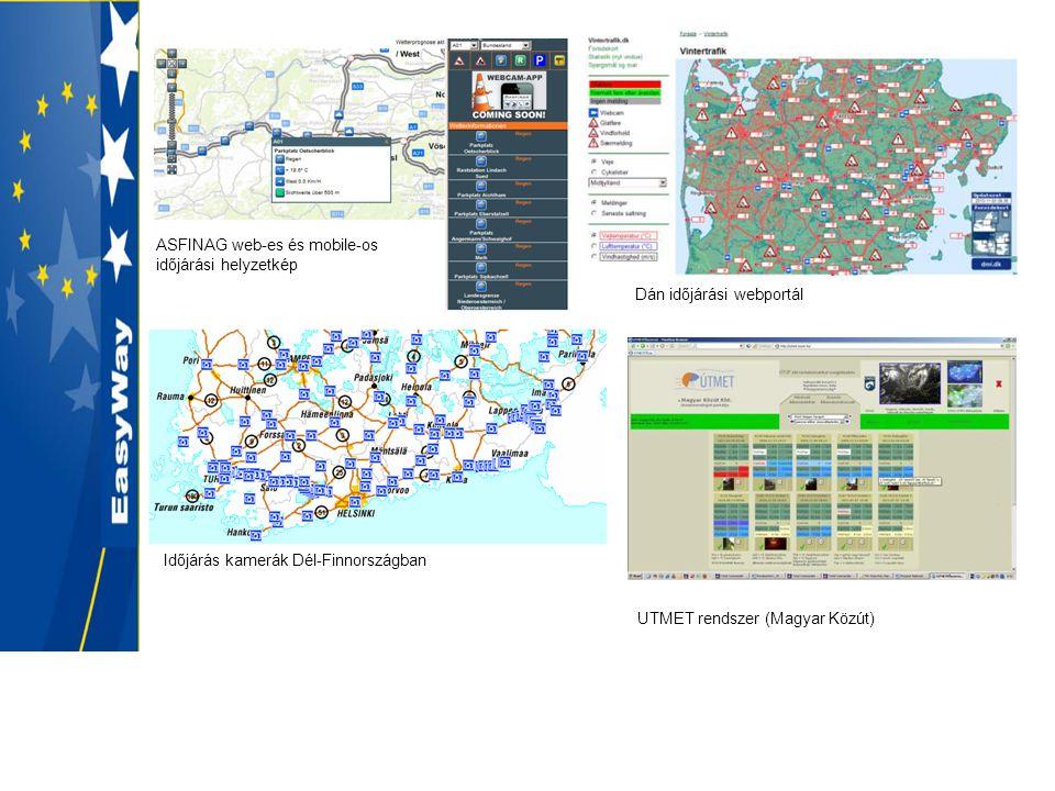 ASFINAG web-es és mobile-os időjárási helyzetkép Dán időjárási webportál Időjárás kamerák Dél-Finnországban UTMET rendszer (Magyar Közút)