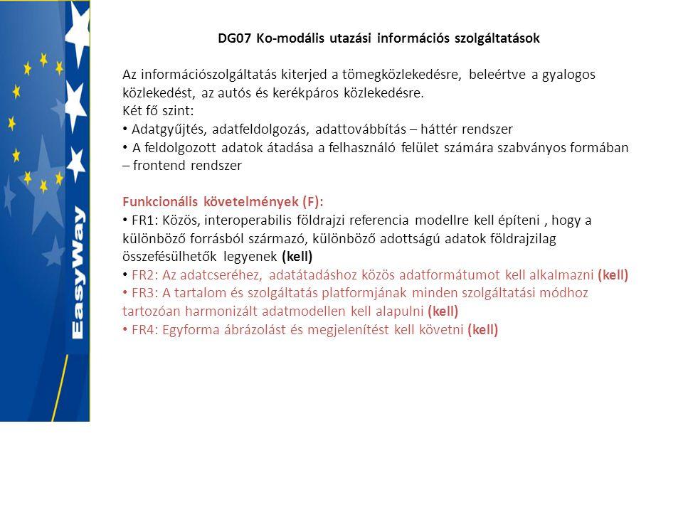 DG07 Ko-modális utazási információs szolgáltatások Az információszolgáltatás kiterjed a tömegközlekedésre, beleértve a gyalogos közlekedést, az autós