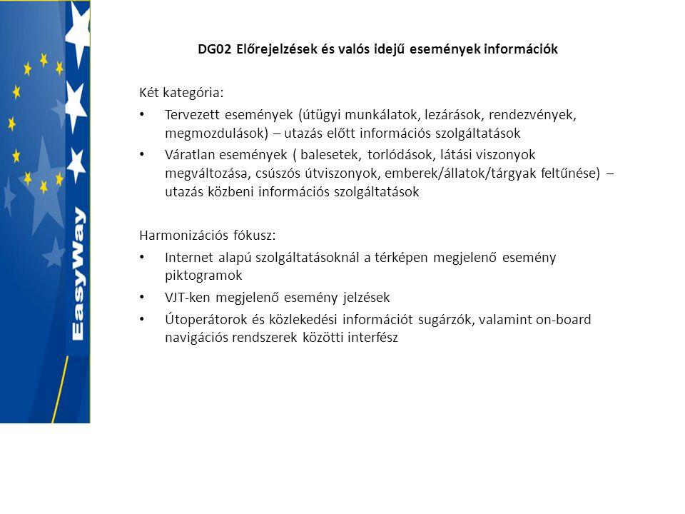 DG02 Előrejelzések és valós idejű események információk Két kategória: • Tervezett események (útügyi munkálatok, lezárások, rendezvények, megmozdulások) – utazás előtt információs szolgáltatások • Váratlan események ( balesetek, torlódások, látási viszonyok megváltozása, csúszós útviszonyok, emberek/állatok/tárgyak feltűnése) – utazás közbeni információs szolgáltatások Harmonizációs fókusz: • Internet alapú szolgáltatásoknál a térképen megjelenő esemény piktogramok • VJT-ken megjelenő esemény jelzések • Útoperátorok és közlekedési információt sugárzók, valamint on-board navigációs rendszerek közötti interfész